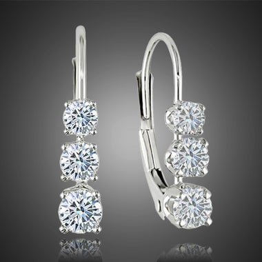 Stunning 18k White Gold Plated 3 Cz Stone Channel Settings Leverback earrings