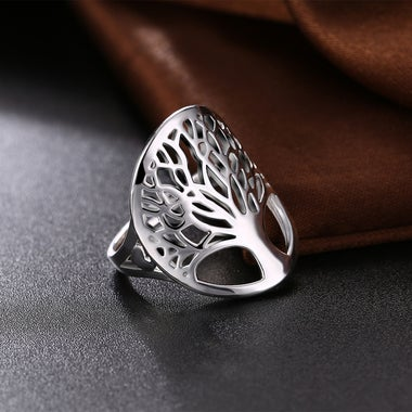 Sliver plated tree of life women ring for size 8