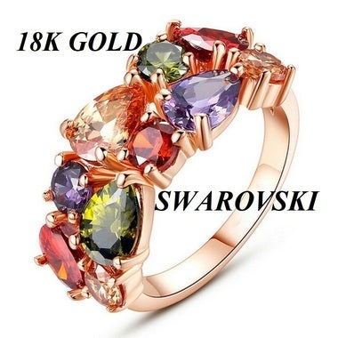 18K Rose Gold Solid Filled Design Luxury Style Multi Color Swarovski Crystals Ex