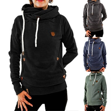 Casual Women's Solid Funnel Neck Hoodies Long Sleeve Pocket Sweatshirts Pullover