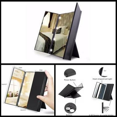 LED Light Vanity Makeup Touch Screen Lighted Tabletop Cosmetic Mirror Tri Fold