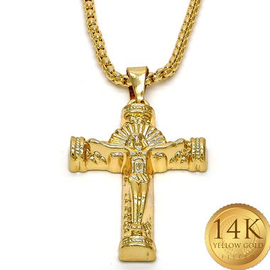 NEW Almighty Crucifix 30 Inches Lazer Engraved Solid GOLD CLAD Franco Men's Chai