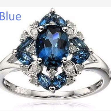 Gorgeous Sterling Silver Wedding Engagement Ring Size 6-10 Aquamarine Sapphire