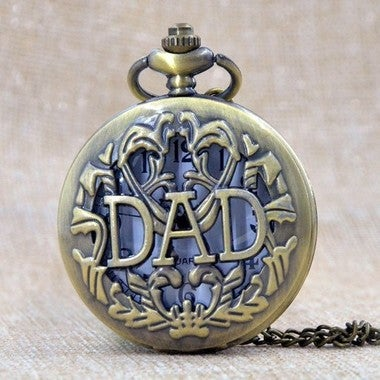 DAD Hollow father Gift Pocket Watch Necklace Vintage Pendant Father's Day Gift