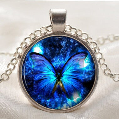 Blue Butterfly Necklace - Butterfly Pendant - Blue Jewelry Gift for Women and Gi