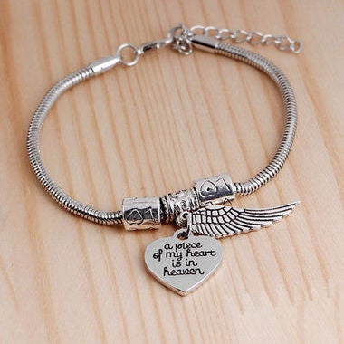 Hot A Piece of My Heart is in Heaven Family Charms Silver Wire Cuff Bracelet