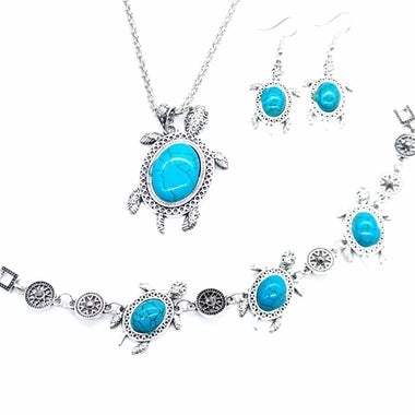 Vintage Turkish Jewelry Sets Small Turtles Pendant Necklace Earrings Bracelet Je