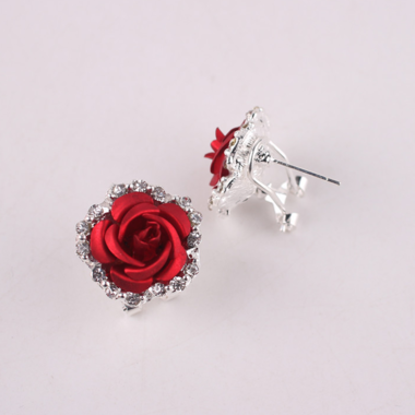 Women's Rose Shaped Alloy Rhinestone Stud Earring
