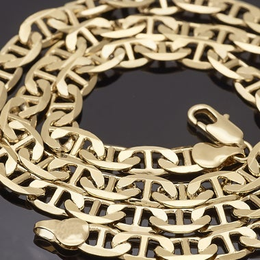 Thick 9mm ITALIAN MARINER HEAVY Chain, 28 inches in Gold Filled !!!! Tarnish-Res