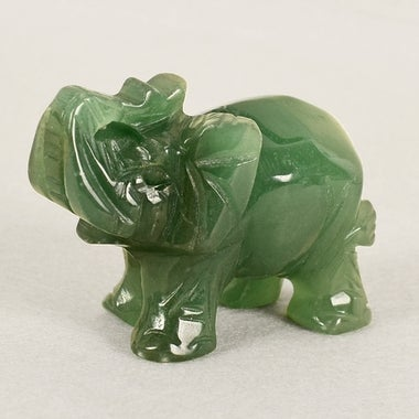 Gift For New Year! 1.5 Inch Green Aventurine Jade Stone Craving Lucky elephant F