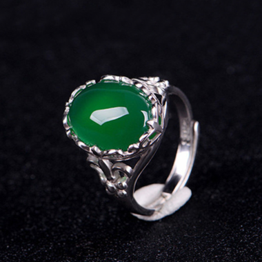 Vintage Classic Genuine Oval Green AAA Zircon Free Size Ring In White Gold Fille