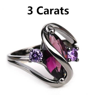 3 Carats Genuine Purple Crystal Marquise Cut and Black Titanium Ring