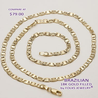 Diamond Etched Mariner 5mm Wide, 24 Inches, Gold Filled Chain (FJ775610)