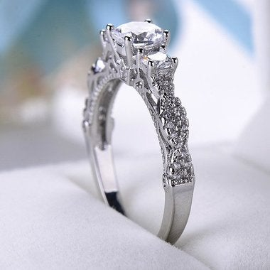 Shine white Engagement wedding Ring