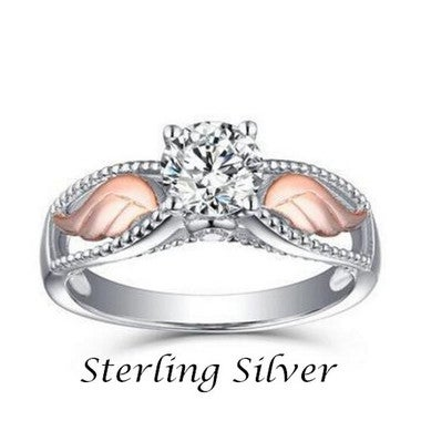 Angel Wings Sterling Silver Rings Women Fashion Party Wedding Jewelry