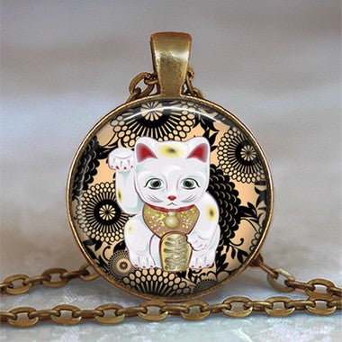 Black and Tan Maneki Neko necklace, Maneki Neko pendant Japanese Lucky Cat neckl
