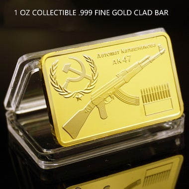 AK47 military world gun king honor COINS gold coin gold coin