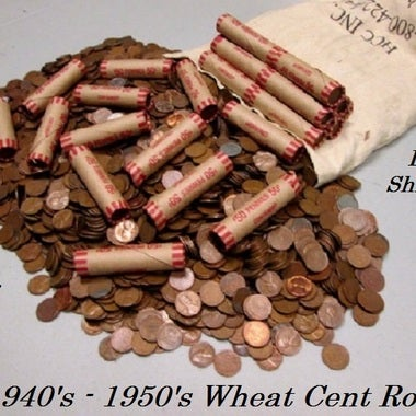 **LOOK** One Roll Lincoln Wheat Cents, 40's-50's Only