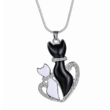 Silver Cute Small Crystal Cat Pendant Animal Necklace Couple Necklace