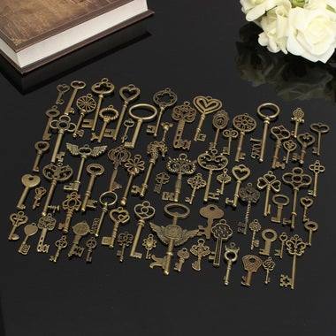 Set Of 69 Antique Vintage Old Look Bronze Skeleton Keys Lot Bronze Charm Fancy H