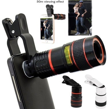Universal 8X Zoom Optical Clip Telephoto Telescope Phone Camera Lens for Smart P
