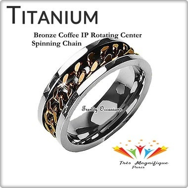 Genuine Ultra Luxury Rotating Bronze Coffee IP Spin Center Chain Solid Titanium