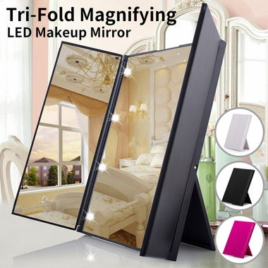 Adjustable Led Lighted Travel Mirror 8 LEDs Touch Screen Make-up Mirror Compact