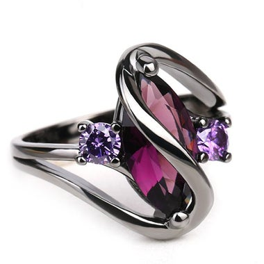 3CTW Genuine Amethyst Marquise Cut And Black Titanium Ring