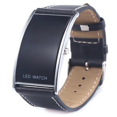 Genuine Leather Belt Wristwatches LED Display + Digital Electronic Unisex Luxury