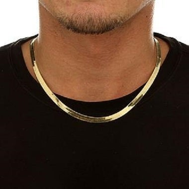 18k Gold Filled Thick Herringbone Flat Chain 20
