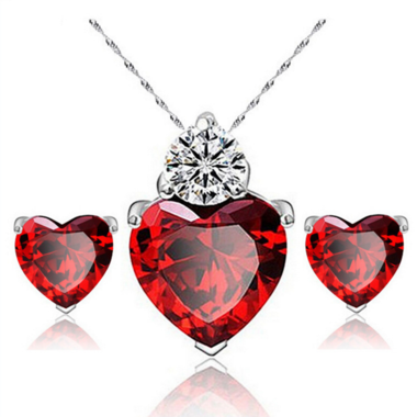White Gold Filled Honest Heart Zircon Crystal Necklace Set Earrings