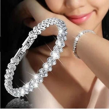 Crystal Women Roman Chain Fashion Rhinestone Bracelet