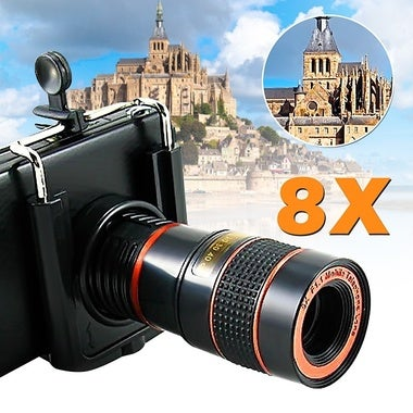 8?—Zoom Telescope Magnifier Camera Lens for 45-90mm width Mobile CellphoneNot Fi