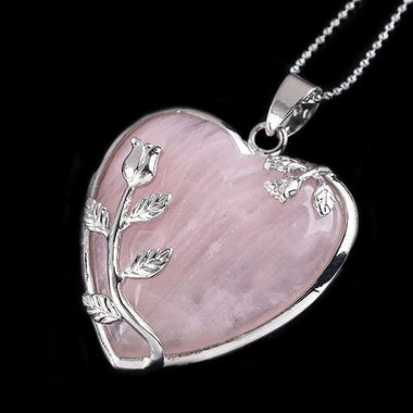 Women's Rose Quartz Alloy Flower Necklace Pendant Heart Inlaid Charm Jewelry