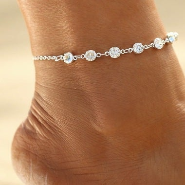 14K White Gold Plated Luxury Anklet
