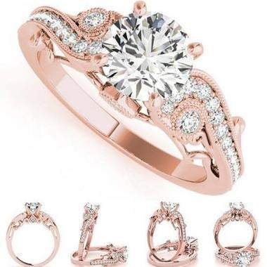 Hot Sale Rose Gold Filled Princess Engagement ring Wedding Band Ring Jewelry