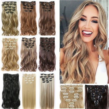 Clip in Hair Extensions Long Curly Wavy wig 6 Colors Synthetic Human Hair US Sel