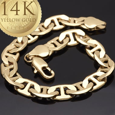 Thick 9mm Mariner Link Bracelet, 9 Inches long, 14K GOLD filled, Diamond cut and