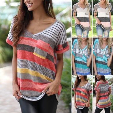 Womens Loose Casual Striped Tops Ladies Short Sleeve Boho Shirts Blouses Tops Ne