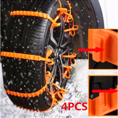 4PCS Reusable Winter Outdoor Snow Safety Nylon Self-Locking Orange Car Tire Anti