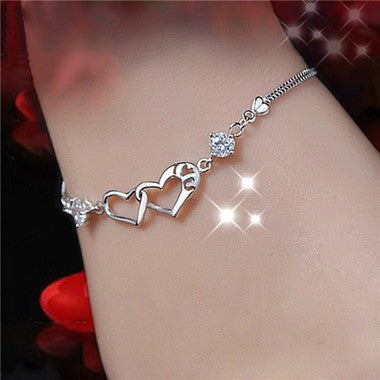 1PCS Women Heart-shaped S925 Silver Simple Purple White Color AAA Zircon Bracele