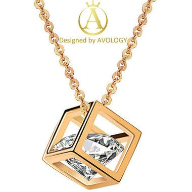 Fashion Pure White 5AAAAA Level Genuine 4 Karat Square Necklace