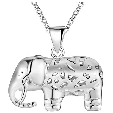 18kt White Gold Plated 3D Puffed Elephant Pendant Necklace