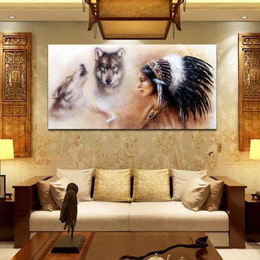 30*60 cm Newest Home Decor Painting  Women Wolfs Indian Spray Oil Paintings(No F