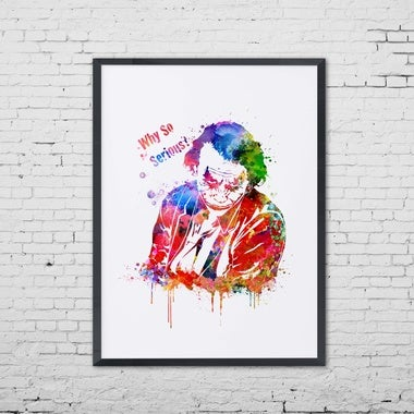 Joker Watercolor Painting Why So Serious Poster Wall Art Quote Decor Joker Nurse