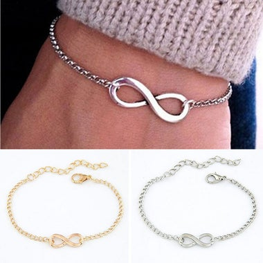 US/UK trendy Women Lucky Cross Infinite Bracelet Bangle Chain Bracelets Gold Sil