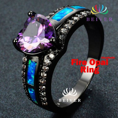 Luxury Rainbow / Purple Heart Shape Synthetic Opal Wedding Ring Black Gold Fille