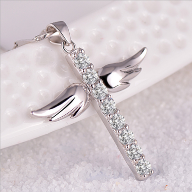 925 Sterling Silver Hand inlaid AAA zircon Angel Wings Cross Pendant Necklace