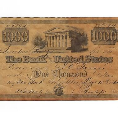 1840 $1,000 BANK NOTE (BANK of THE UNITED STATES) #8894 PHILADELPHIA ISSUE