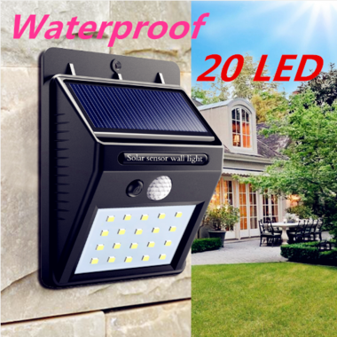 20 LED 1pcs Solar Powered PIR Motion Waterproof Outdoor Garden  Sensor Light Sec